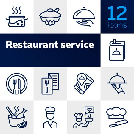 Restaurant service line icon set. Set of line icons on white background. Menu, stewpan, plate, chef. Food concept. Vector illustration can be used for topics like eating, drinking, resting Illustration
