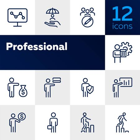 Professional line icon set. Banker, accountant, investor, seller. Business concept. Can be used for topics like finance, banking, career