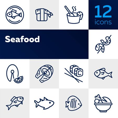 Sea food restaurant line icon set. Fish, rice, shrimp. Food concept. Vector illustration can be used for topics like food product, supermarket, restaurant