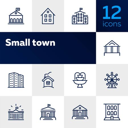 Small town line icon set. School, apartment building, house. Architecture concept. Vector illustration can be used for topics like building, town, construction 写真素材 - 128944852