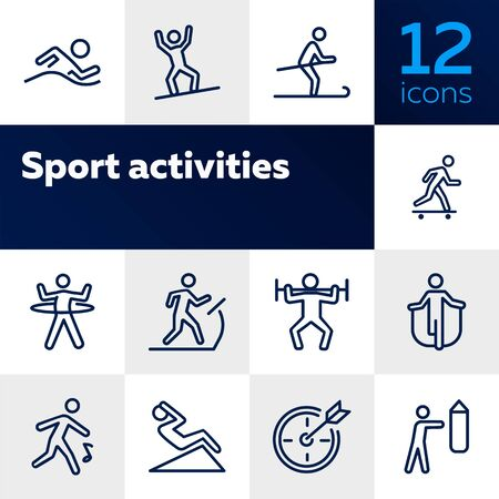 Sport activities line icon set. Swimming, snowboarding, skiing. Fitness concept. Can be used for topics like health, active lifestyle, competition