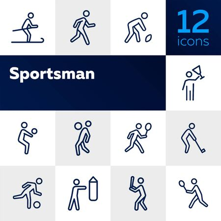 Sportsman line icon set. Football player, fighter, skier. Sport concept. Can be used for topics like activity, healthy lifestyle, competition Archivio Fotografico - 128945045