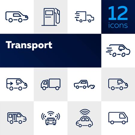 Transport line icon set. Car, van, vehicle. Transportation concept. Can be used for topics like delivery, shipping, travel