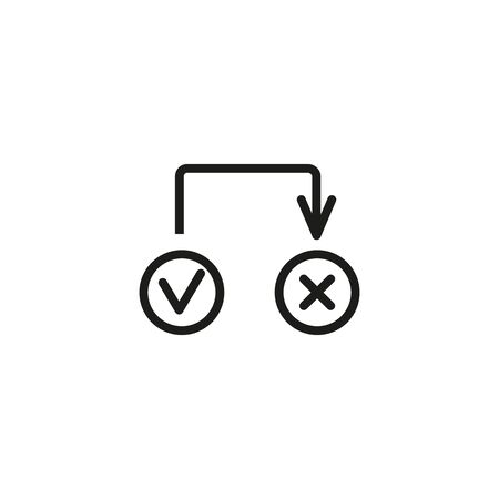 Cancel switch line icon. Yes No checkbox, checklist, questionnaire. Reject or cancel concept. Vector illustration can be used for topics like interface, internet, choice Ilustração
