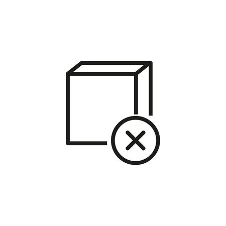 Canceled delivery line icon. Delete order, canceled mail, remove purchase. Reject or cancel concept. Vector illustration can be used for topics like shopping, e-commerce, service