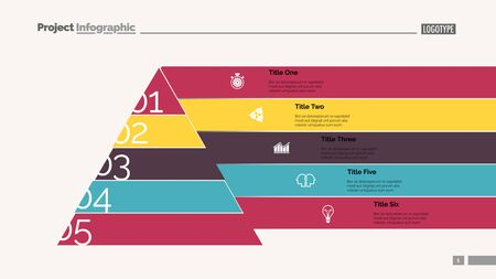 Marketing pyramid slide template. Business data. Graph, diagram, design. Creative concept for infographic, report. Can be used for topics like hierarchy, consequence, number options 일러스트