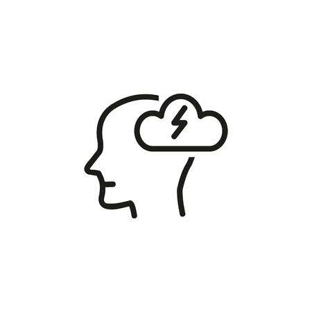 Brainstorm line icon. Stress, headache, insight. Creative concept. Vector illustration can be used for topics like business, healthcare, psychology