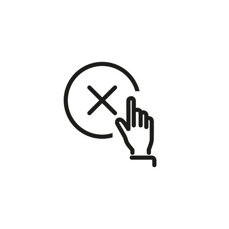 Cancellation line icon. Delete button, fingerprint cancellation, negative sign. Reject or cancel concept. Vector illustration can be used for topics like technology, internet, error