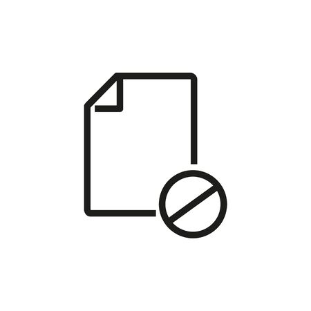 Cancelled document line icon. Delete file, rejected form, unknown format. Reject or cancel concept. Vector illustration can be used for topics like business, interface, computer Stock Illustratie