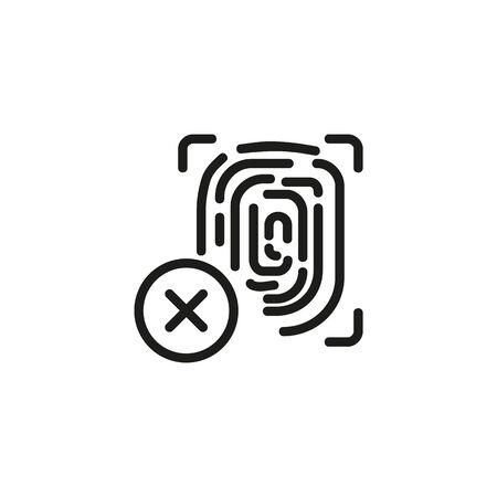 Cancelled fingerprint line icon. Unapproved thumbprint, delete data, fingerprint disable. Reject or cancel concept. Vector illustration can be used for topics like security, investigation, crime Ilustração