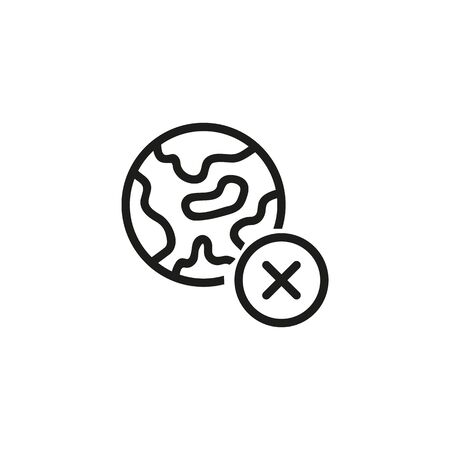 Cancelled globe line icon. No internet, no connection, remove location symbol. Reject or cancel concept. Vector illustration can be used for topics like internet, geography, navigation