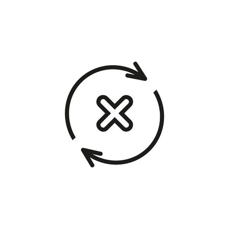 Cancelled refresh line icon. Update decline, rejected refresh, delete waiting. Reject or cancel concept. Vector illustration can be used for topics like internet, interface, computer  イラスト・ベクター素材