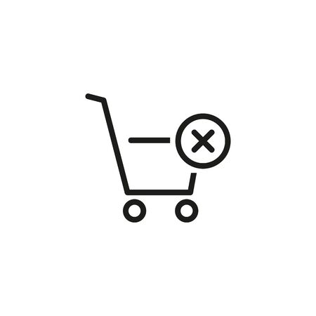 Cancelled shopping line icon. Clear shopping cart, cancel item, online shop. Reject or cancel concept. Vector illustration can be used for topics like internet, e-commerce, shopping