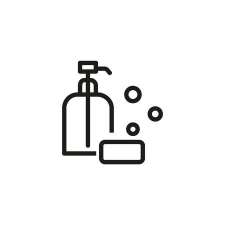 Clean skin line icon. Liquid soap, bathroom, hygiene. Skincare concept. Vector illustration can be used for topics like beauty, cosmetics, hygiene Ilustracja