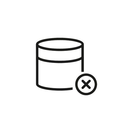 Denied data line icon. Blocked database, default, database cancel. Reject or cancel concept. Vector illustration can be used for topics like computer, technology, information Ilustração