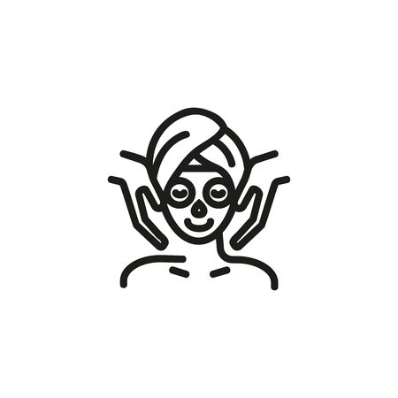 Facial mask line icon. Beauty salon, spa, beautician. Skincare concept. Vector illustration can be used for topics like beauty, service, body care Standard-Bild - 129243553