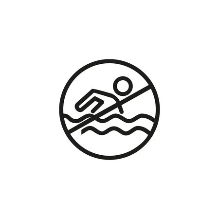 No swimming line icon. Private beach, conservation area, contaminated water. Reject or cancel concept. Vector illustration can be used for topics like warning signs, environment, travel  イラスト・ベクター素材