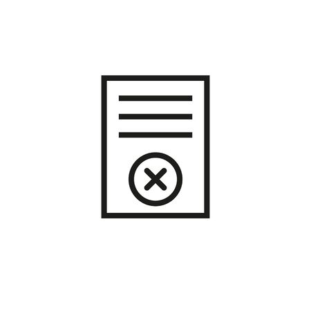 Rejected application line icon. Rejected project, declined for loan, deleted file. Reject or cancel concept. Vector illustration can be used for topics like business, computer, application