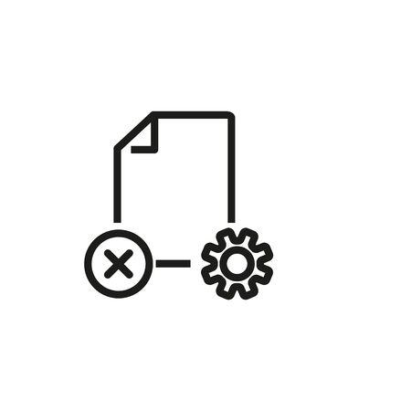Rejected document line icon. File setting, file restore, deleted file. Reject or cancel concept. Vector illustration can be used for topics like computer, technology, interface