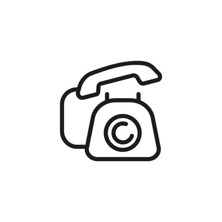 Telephone line icon. Landline communication, telephone wire, contact. Communication concept. Vector illustration can be used for topics like technology, connection, information