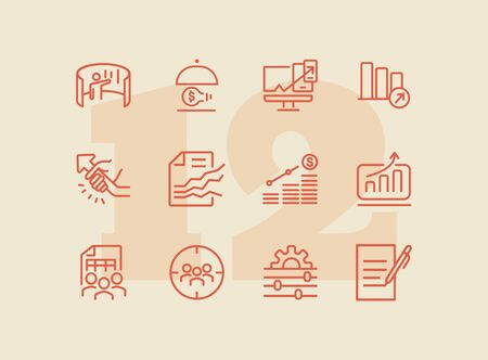 Consulting line icon set. Graph, chart, analysis. Business concept. Can be used for topics like marketing, finance management, startup 일러스트