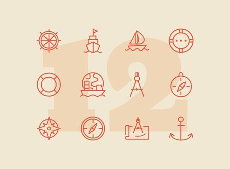 Sailing line icon set. Ship, anchor, compass. Travel concept. Can be used for topics like cruise, marine navigation, nautical Иллюстрация