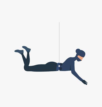 Burglar roping down. Car burglary, thieves, criminals wearing black clothes. Crime concept. Vector illustration for webpage, landing page Illusztráció