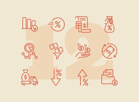 Profit icon. Set of line icons on white background. Financial bill, investment, earning. Banking concept. Vector illustration can be used for topics like business, finance, money