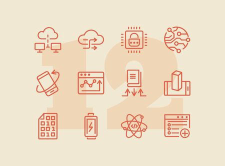 Application development line icon set. Battery charging, binary code, cloud networking. Information technology concept. Can be used for topics like programming, mobile apps, artificial intelligence Ilustracja