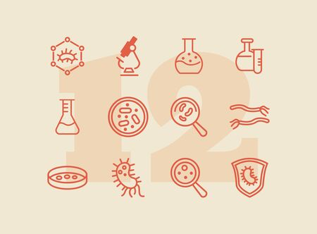 Biological laboratory line icon set. Set of line icons on white background. Science concept. Laboratory, flask, lens. Vector illustration can be used for topics like biology, investigation, study Çizim