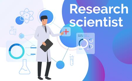 Neuroscientist conducting research landing template. Science laboratory, clinical lab, experiments. Research concept. Vector illustration for webpage, landing page Illusztráció