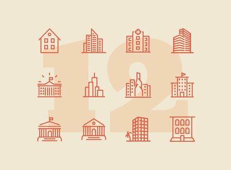 Buildings icons. Set of line icons on white background. Hospital, town house, museum, hotel. City concept. Vector illustration can be used for topics like urban life, architecture, construction Иллюстрация