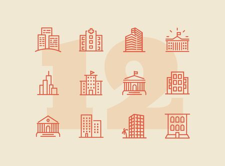 Buildings line icon set. Bank, school, courthouse, university, library. Architecture concept. Can be used for topics like office, city, real estate Standard-Bild - 129268091