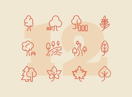 Park line icon set. Leaf, tree, oak, forest. Nature concept. Can be used for topics like countryside, hiking, ecology 일러스트