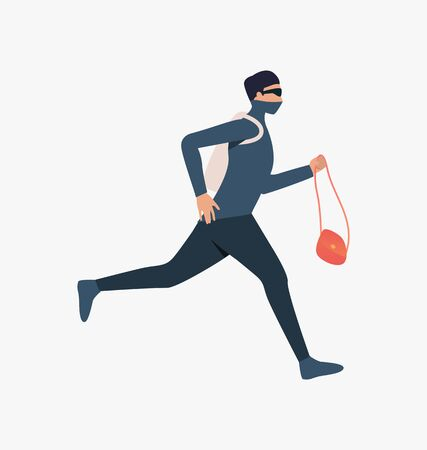Thief running with handbag. Car burglary, thieves, criminals wearing black clothes. Crime concept. Vector illustration for webpage, landing page Иллюстрация