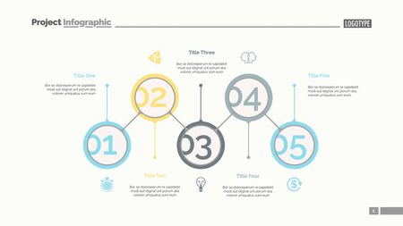 Five aspects of business slide template. Business data. Graph, diagram. Creative concept for infographic, templates, presentation, report. Can be used for topics like structure, marketing, project