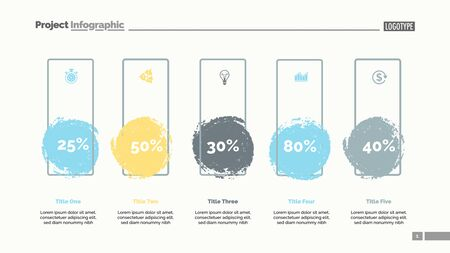 Five blots percentage chart slide template. Business data. Percent, review, design. Creative concept for infographic, presentation, report. Can be used for topics like banking, insurance, analysis.