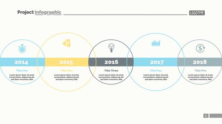 Five circle timeline and size diagram. Chart, slide, template. Creative concept for infographics, presentation, project, report. Can be used for topics like business, strategy, development
