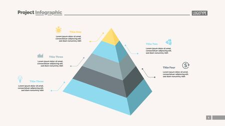 Five level pyramid chart. Diagram, slide, template. Creative concept for infographics, presentation, project, report. Can be used for topics like business, marketing, analysis Illusztráció