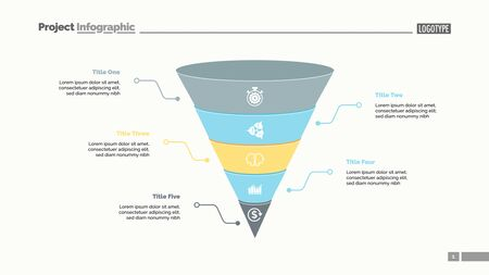 Five cone parts process chart slide template. Business data. Step, point, design. Creative concept for infographic, presentation, report. Can be used for topics like teamwork, marketing, research.