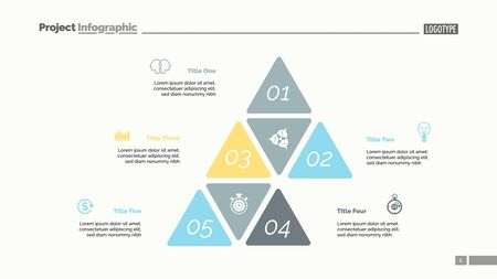 Five options process chart slide template. Business data. Step, financial, design. Creative concept for infographic, presentation, report. Can be used for topics like marketing, finance, research. Illusztráció