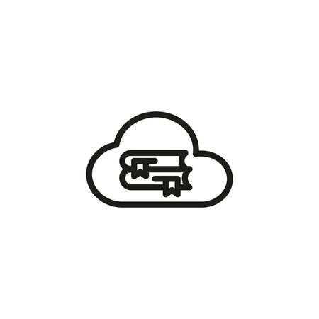Cloud library line icon. Cloud, learning, literature, online. Online library concept. Vector illustration can be used for topics like internet, library, modern technologies