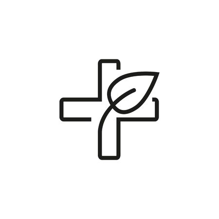 Herbal medicine line icon. Medicine, cross, plant. Therapy concept. Vector illustration can be used for topics like health, relax, spa