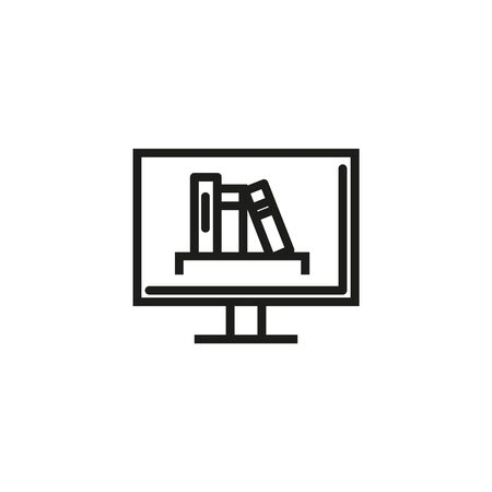 Online book store line icon. Monitor, literature, online. Online library concept. Vector illustration can be used for topics like internet, library, modern technologies Stock Illustratie