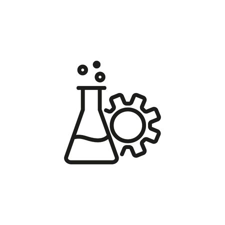 Tech experiment line icon. Glass tube, gearwheel, chemistry. Research concept. Vector illustration can be used for topics like medicine, studies, science  イラスト・ベクター素材