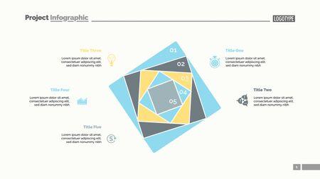 Five squares process chart slide template. Business data. Strategy, step, design. Creative concept for infographic, presentation, report. For topics like marketing, insurance, stock market. Illusztráció