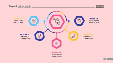 Five phases of business process template. Business data. Graph, chart, design. Creative concept for infographic, report. Can be used for topics like banking, finances, credit