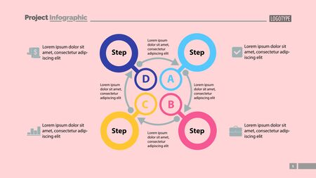 Four steps process chart slide template. Business data. Option, diagram, design. Creative concept for infographic, presentation. Can be used for topics like management, finance, training.