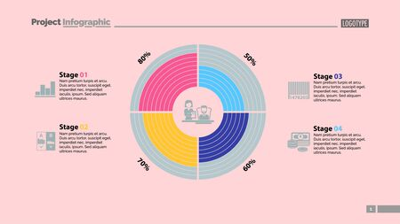 Four stages comparison in circle diagram template. Business data. Graph, chart, design. Creative concept for infographic, report. Can be used for topics like teamwork, management, company Иллюстрация