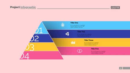 Pyramid chart slide template. Business data. Graph, diagram, design. Creative concept for infographic, report. Can be used for topics like marketing, development, elaboration Illusztráció